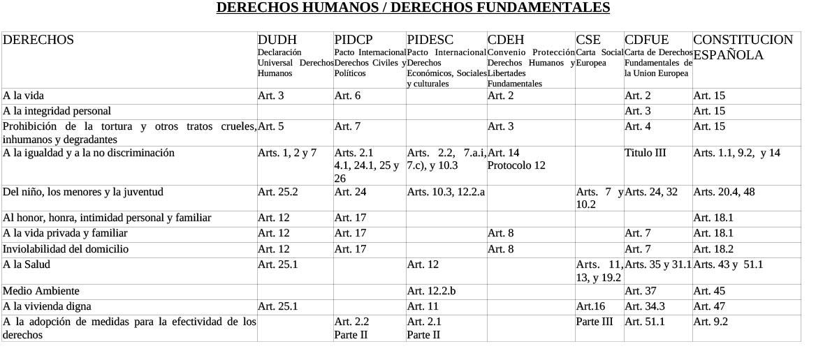 derechos humanos /derechos fundamentales